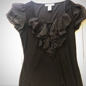 🌵WHBM black ruffle front sheer sleeve top size XS